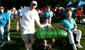Nancy and Mike with Friend Michael Pohorylo first Relay after Stroke